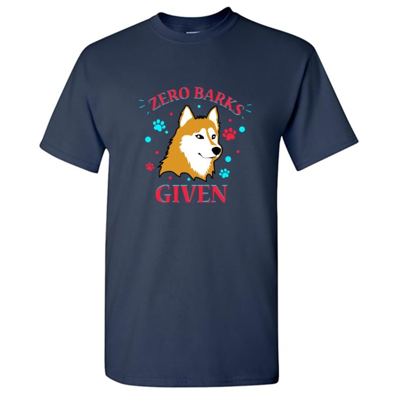 3d1f106a zero barks given cool dog attitude for canine lover round neck t shirt navy front
