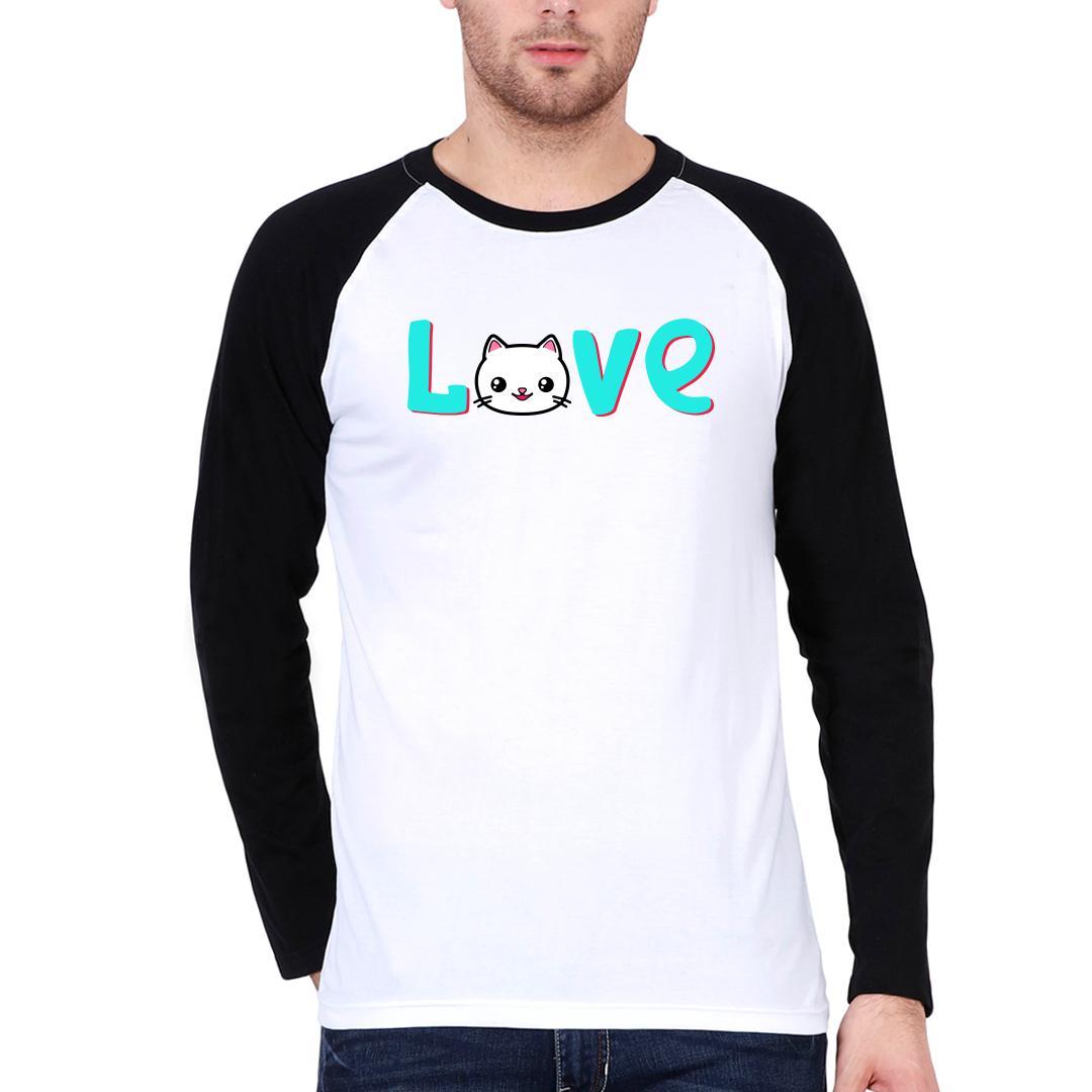 3ef6b4c4 Love Cat Cute Pet Lover Men Raglan T Shirt Black White Front
