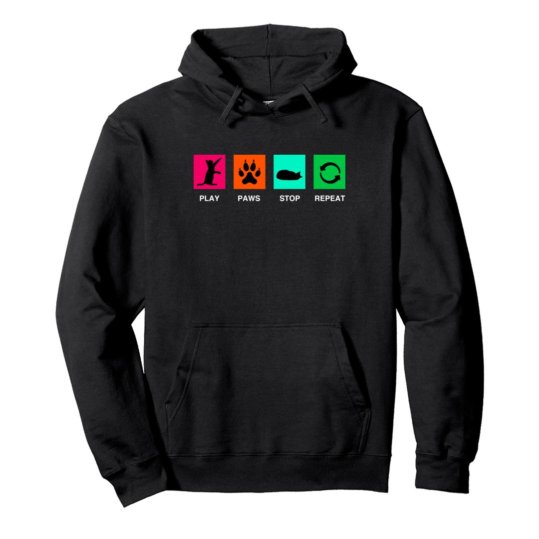 44231a90 Play Paws Stop Repeat Pet Cat Lover Cute Unisex Hoodie Black Front