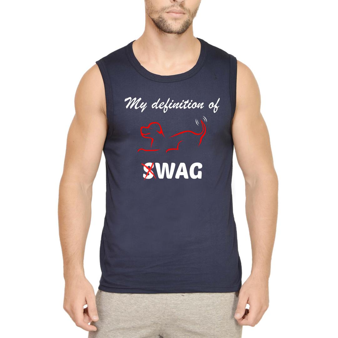 4b544132 My Defintion Of Swag Is Wag Cute Pet Dog Men Sleeveless T Shirt Navy Front