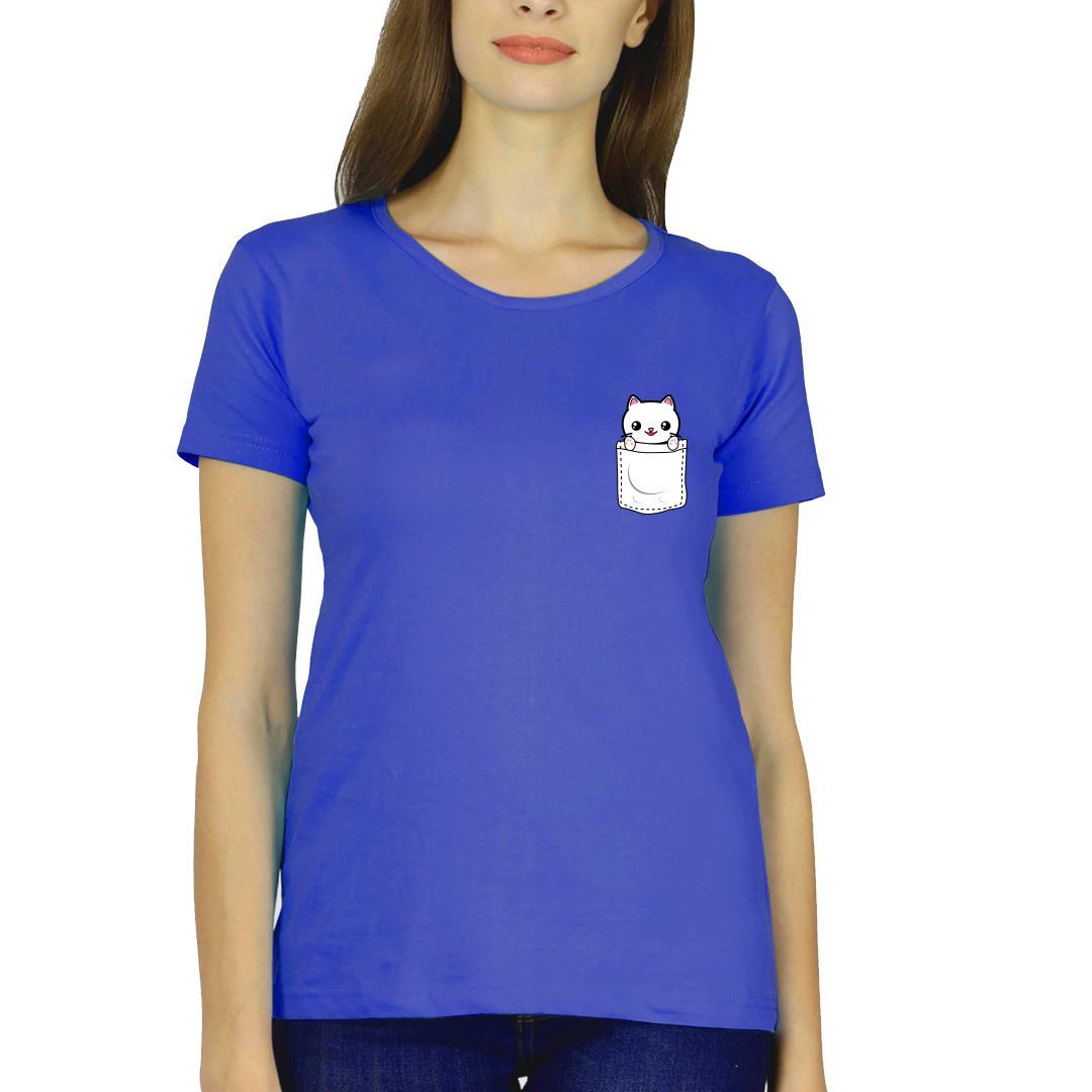 4bcbf87f Pocket Kitten Cute Pet Cat Lover Women Round Neck T Shirt Royal Blue Front