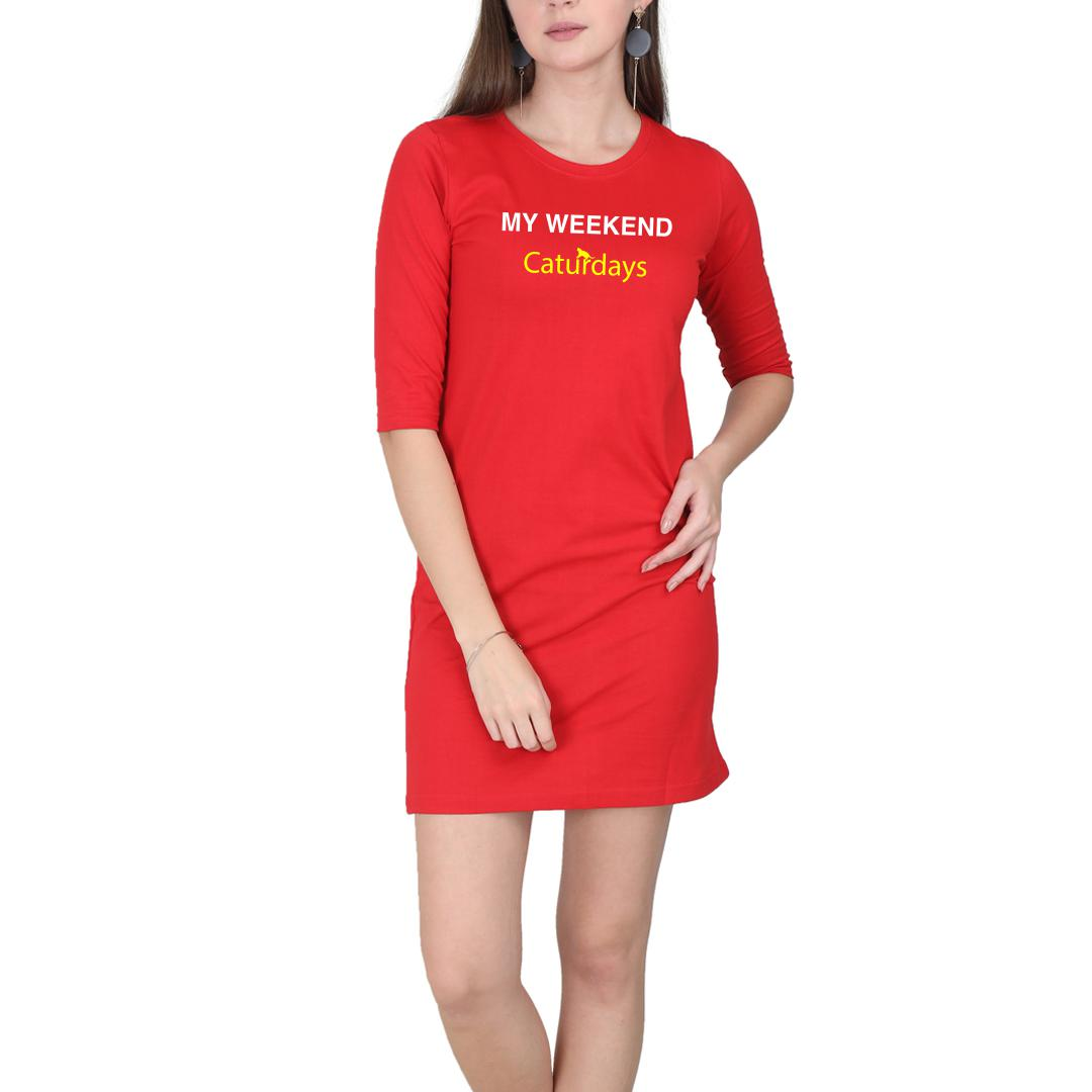 4c22bd00 My Weekends Are Caturdays Cute Pet Cat Women T Shirt Dress Red Front