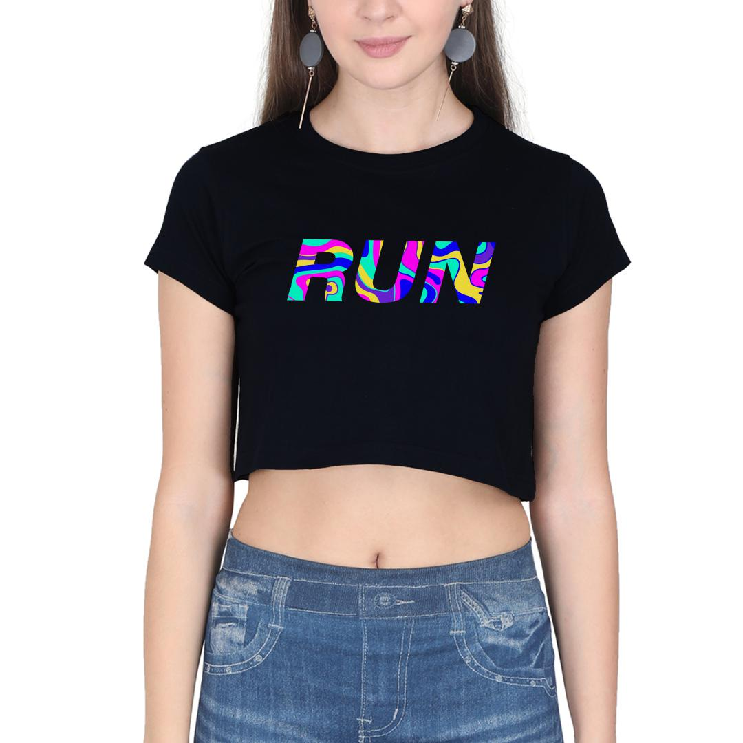 6e55221f Run Colourful Running Pride For Runners Women Crop Top Black Front