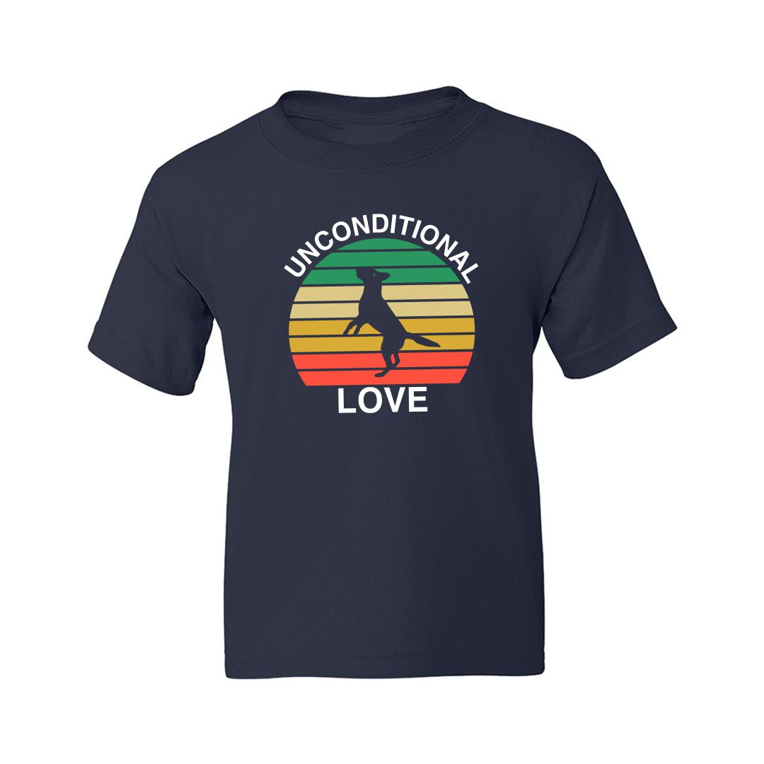 879bcee9 Unconditional Love Cute Pet Dog Canine Love Vintage Kids T Shirt Navy Front