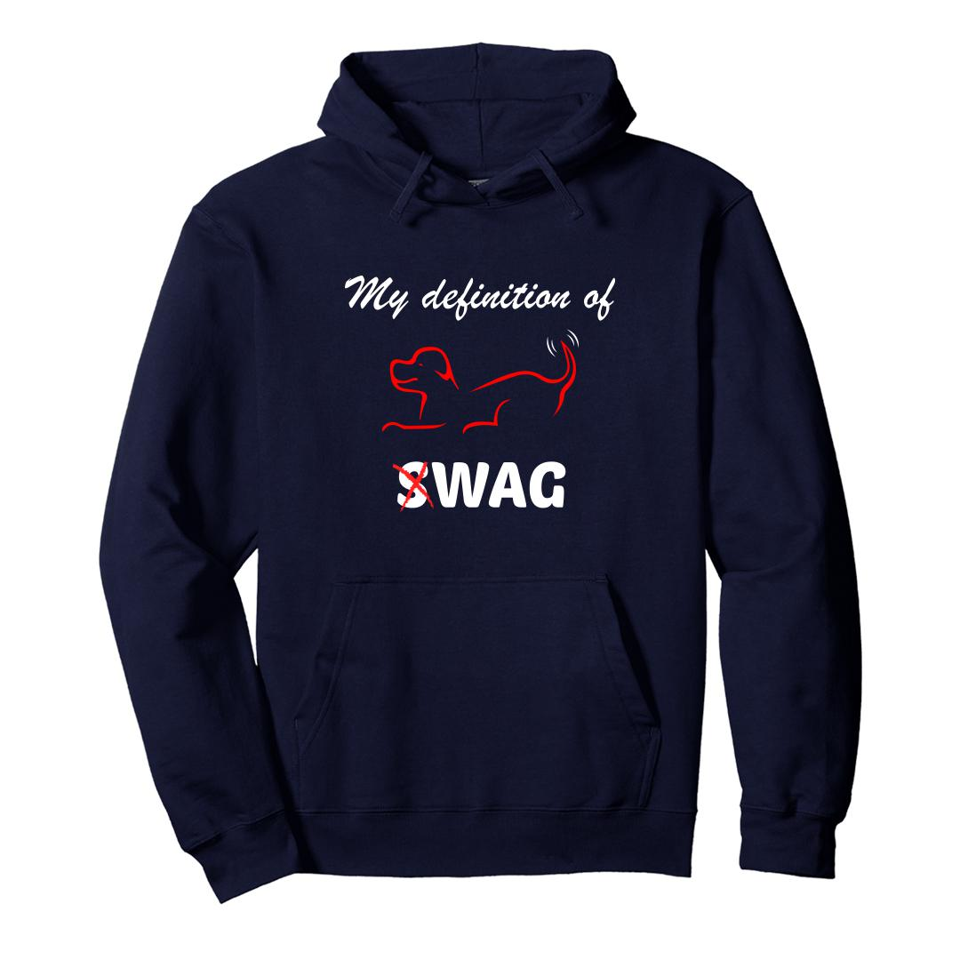 A0c95af5 My Defintion Of Swag Is Wag Cute Pet Dog Unisex Hoodie Navy Front