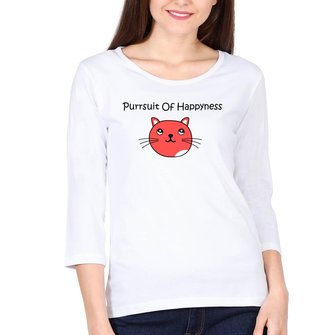 A38a14dd Purrsuit Of Happyness For Cat Lovers Women Full Sleeve T Shirt White Front