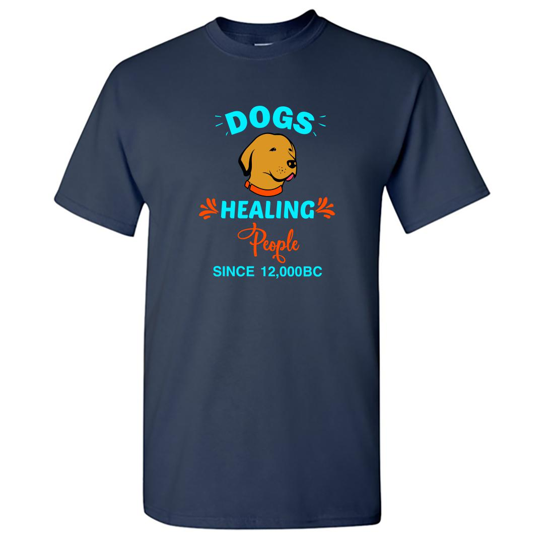 A470bc93 Dogs Healing People Best Friend Pet Dog Round Neck T Shirt Navy Front