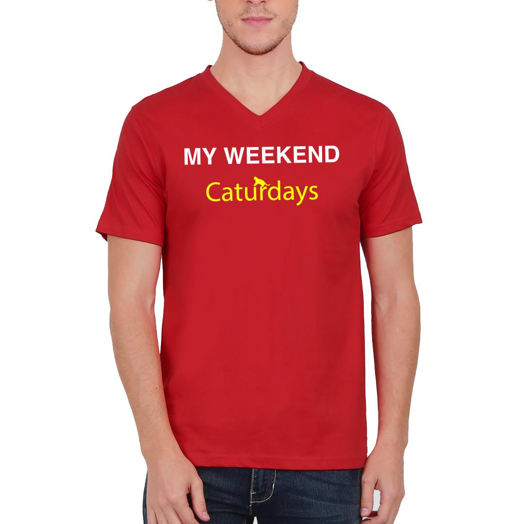 A4c1caf9 My Weekends Are Caturdays Cute Pet Cat Men V Neck T Shirt Red Front