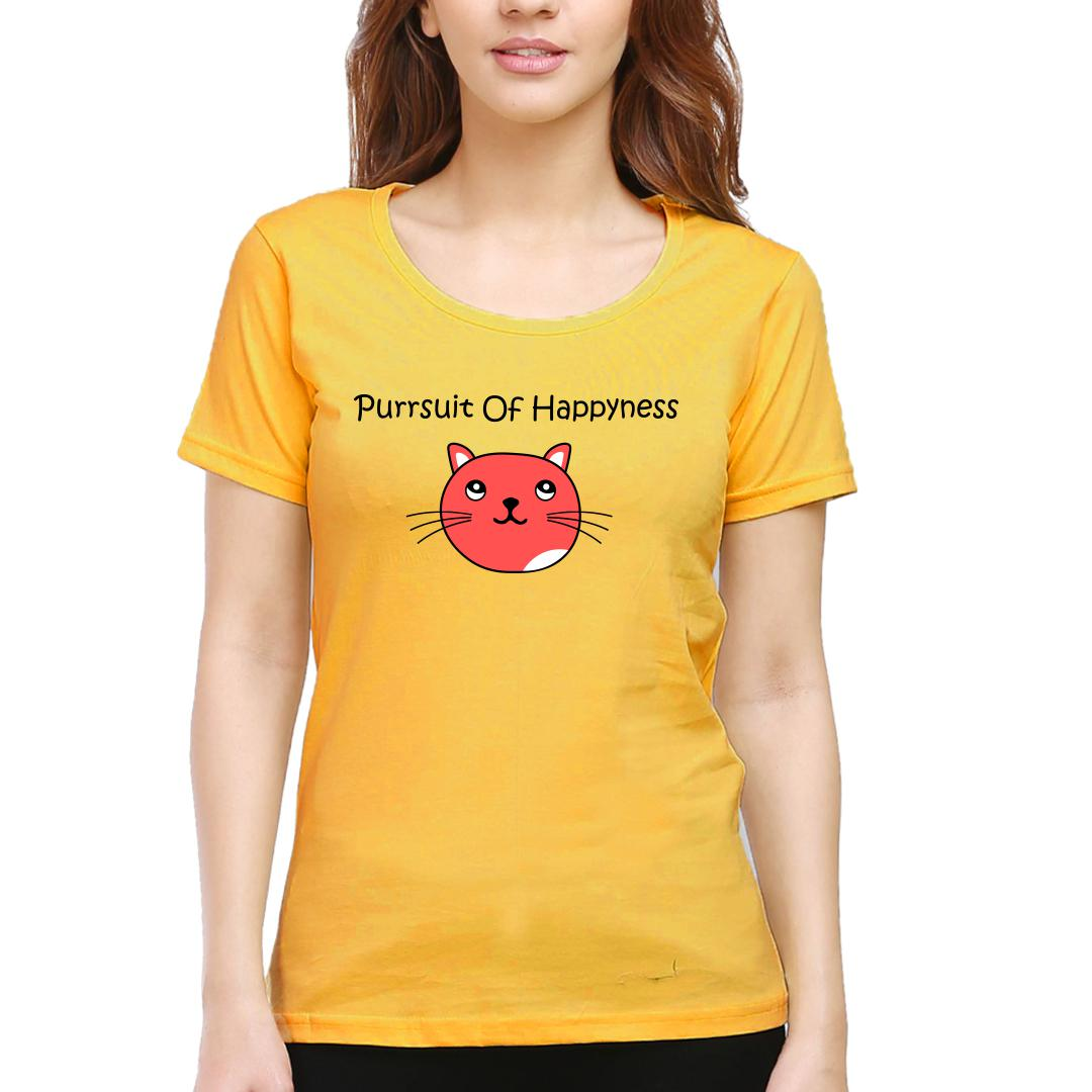 B64512c1 Purrsuit Of Happyness For Cat Lovers Women Round Neck T Shirt Yellow Front