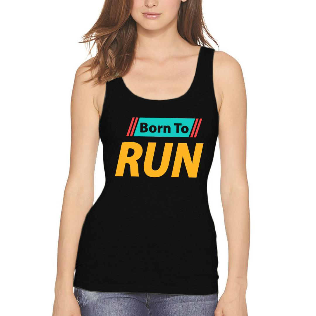 B77de914 Born To Run For Running Enthusiast Runner Women Tank Top Black Front