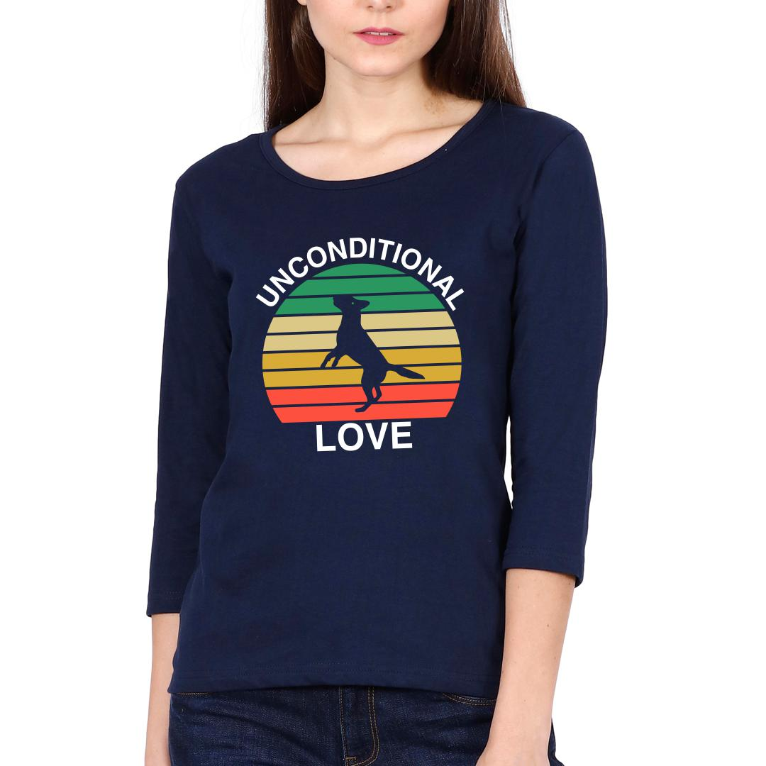 B82a1cc6 Unconditional Love Cute Pet Dog Canine Love Vintage Women Full Sleeve T Shirt Navy Front