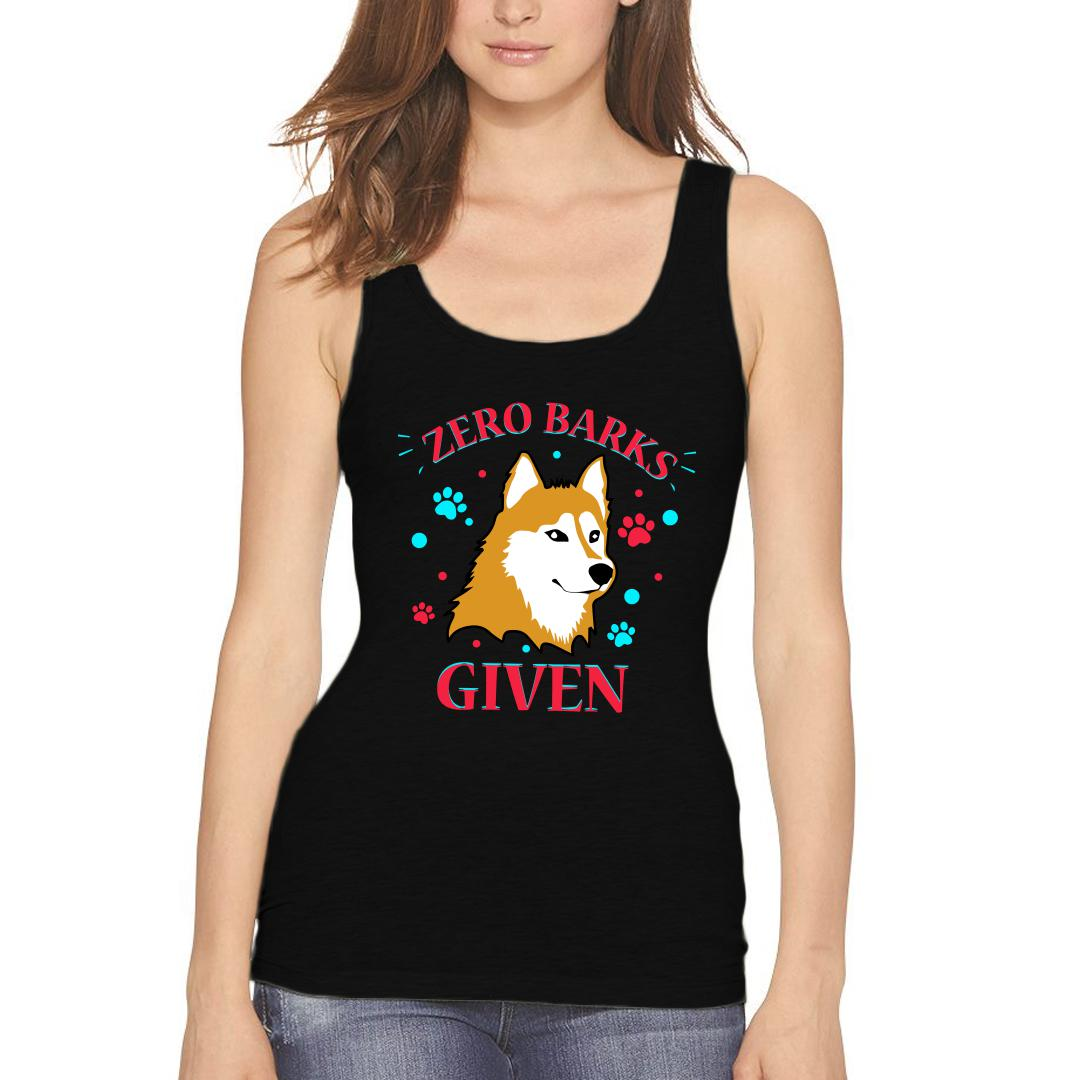 Cda61b9b Zero Barks Given Cool Dog Attitude For Canine Lover Women Tank Top Black Front