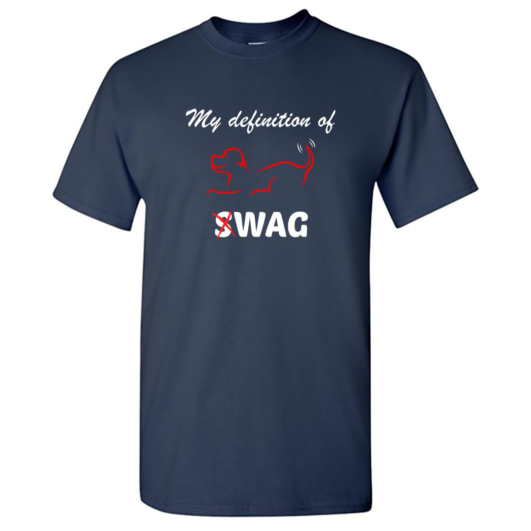 D10a4702 My Defintion Of Swag Is Wag Cute Pet Dog Round Neck T Shirt Navy Front