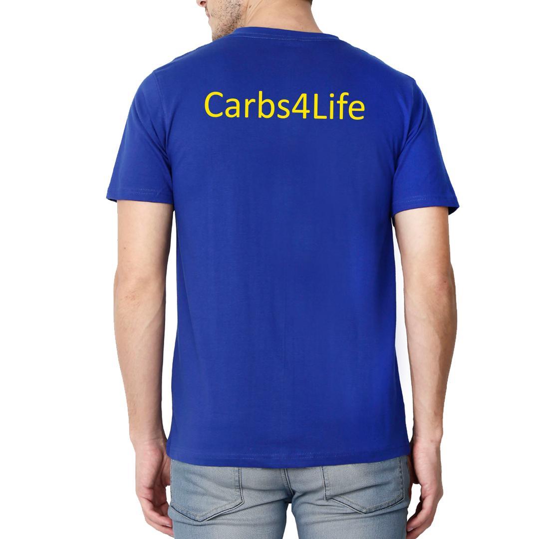 Decf97b8 Carbs 4 Life Runner Cyclist Fitness Freak Men V Neck T Shirt Royal Blue Back