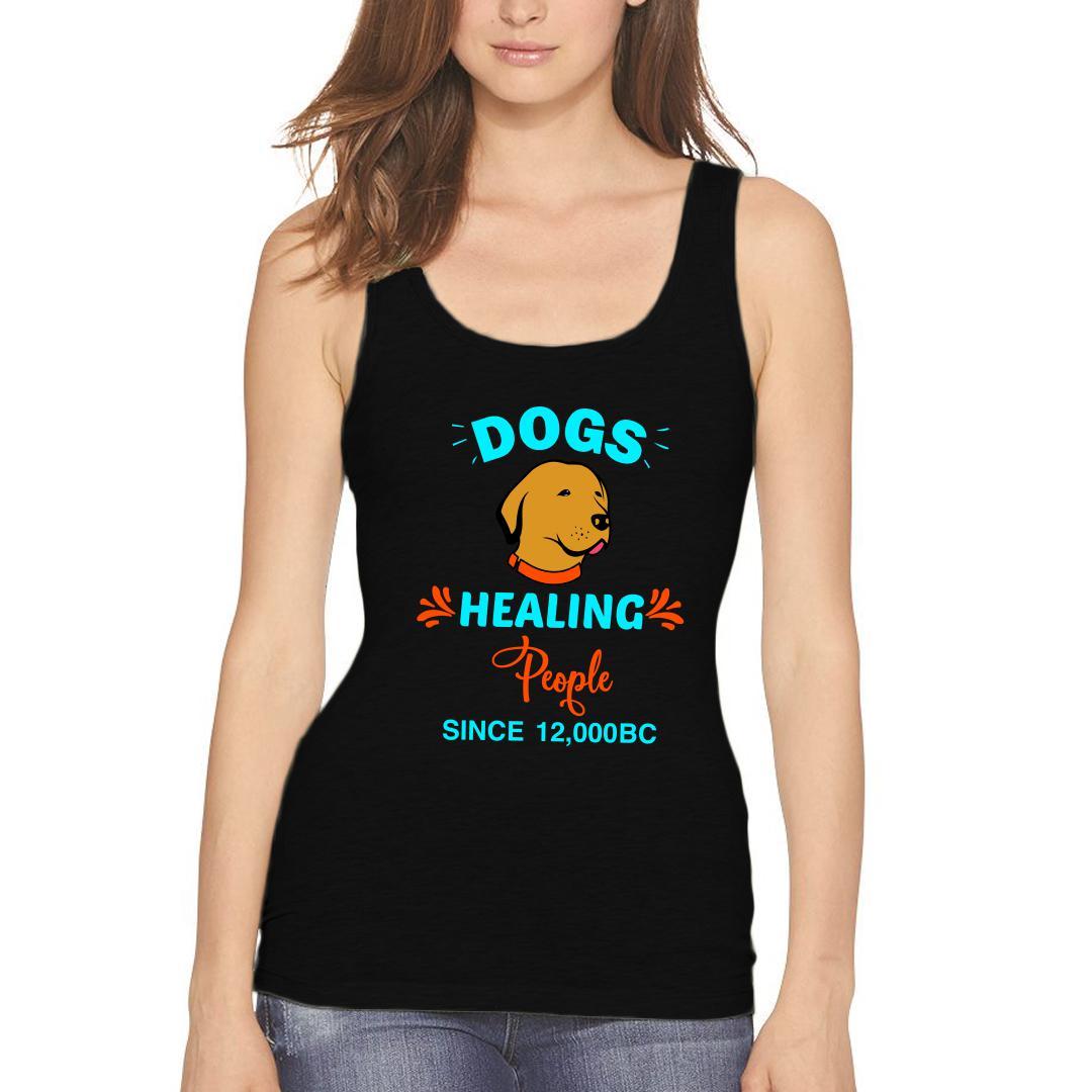 E78b4d33 Dogs Healing People Best Friend Pet Dog Women Tank Top Black Front