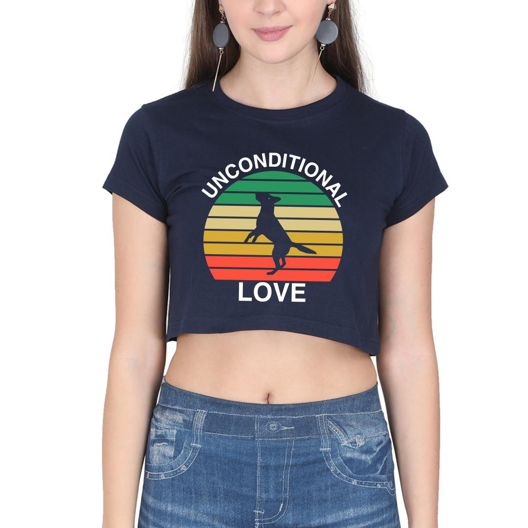 Ef8320a3 Unconditional Love Cute Pet Dog Canine Love Vintage Women Crop Top Navy Front