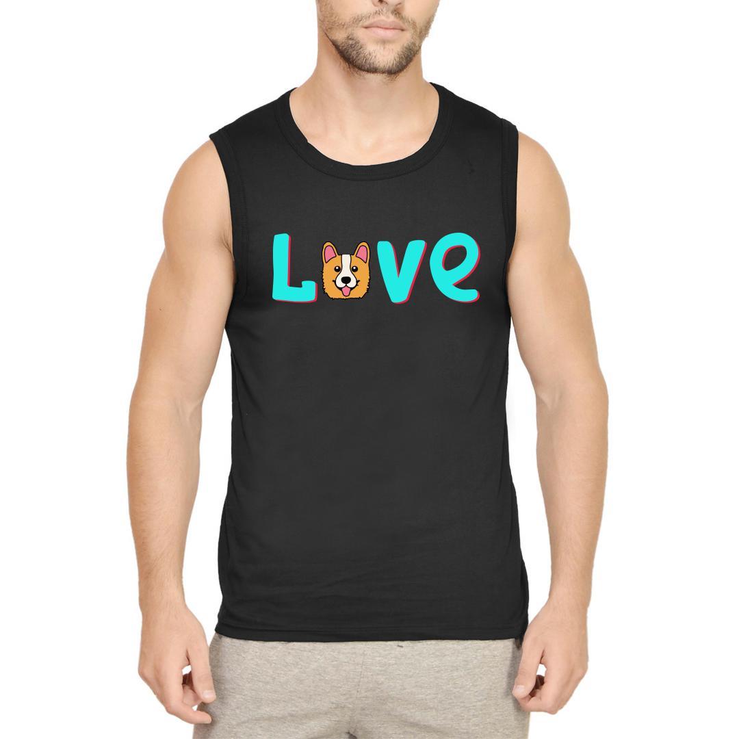 F4b622e2 Love Dog Cute Pet Lover Men Sleeveless T Shirt Black Front