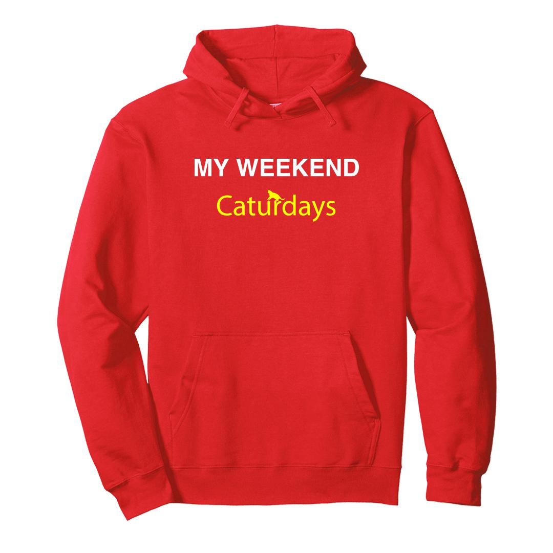 F7e93197 My Weekends Are Caturdays Cute Pet Cat Unisex Hoodie Red Front