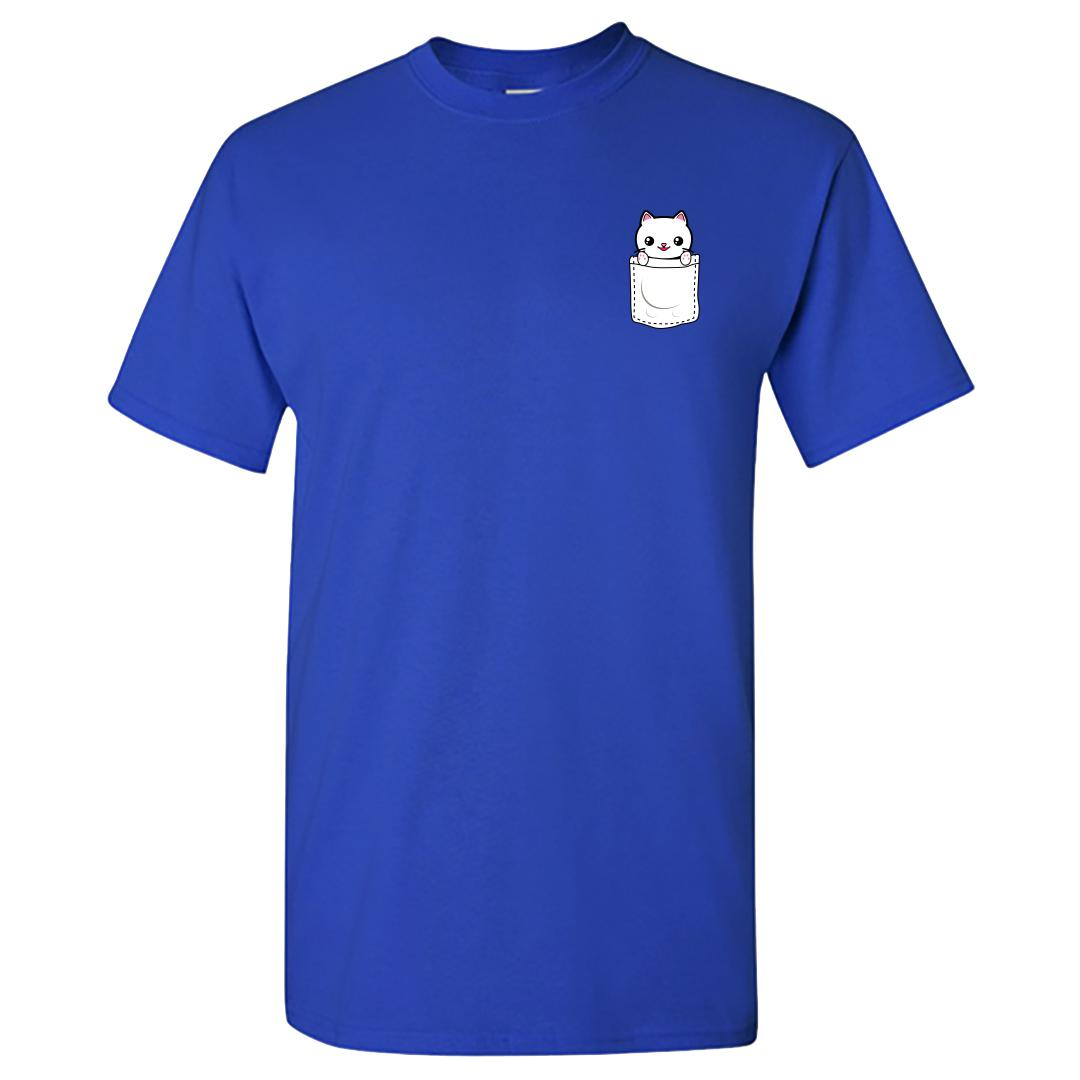 Fa2be881 Pocket Kitten Cute Pet Cat Lover Round Neck T Shirt Royal Blue Front