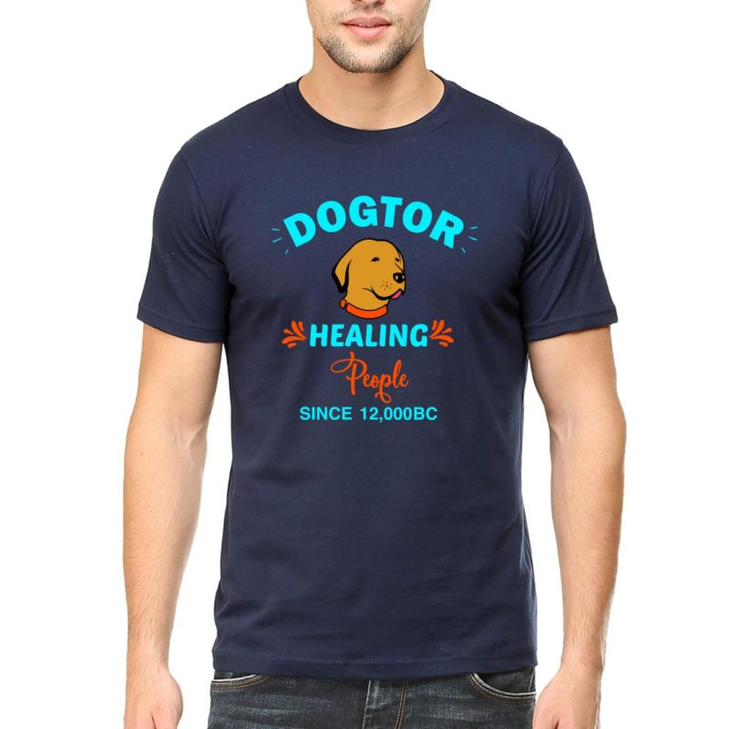 14353cfa dogtor healing people since 12000 bcmen round neck t shirt navy front