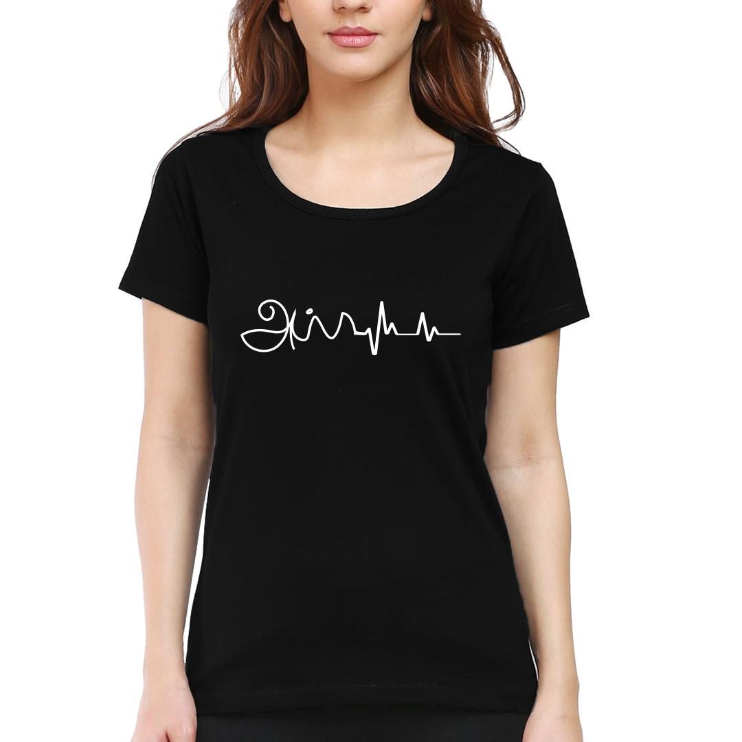 26b92d79 Appa Is In My Heartbeat Fathers Day Gift Women Round Neck T Shirt Black Front