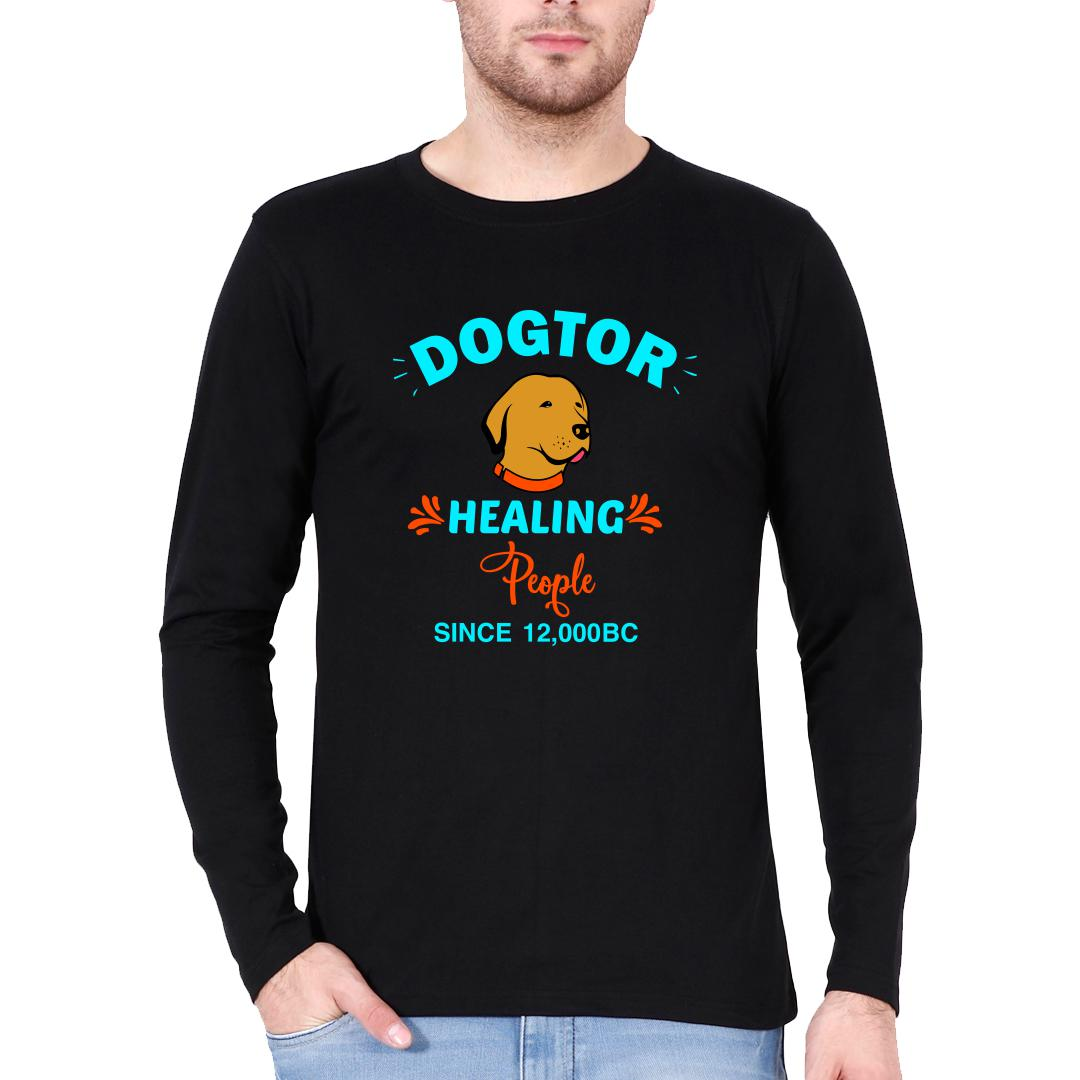 4ae9adbf Dogtor Healing People Since 12000 Bc Men Full Sleeve T Shirt Black Front