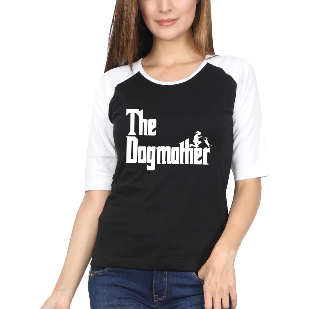 5097908e The Dogmother Classic Movie Pet Owner Dog Lover Gift Women Raglan T Shirt White Black Front