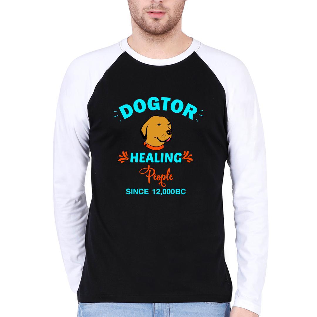 637950a8 Dogtor Healing People Since 12000 Bc Men Raglan T Shirt White Black Front