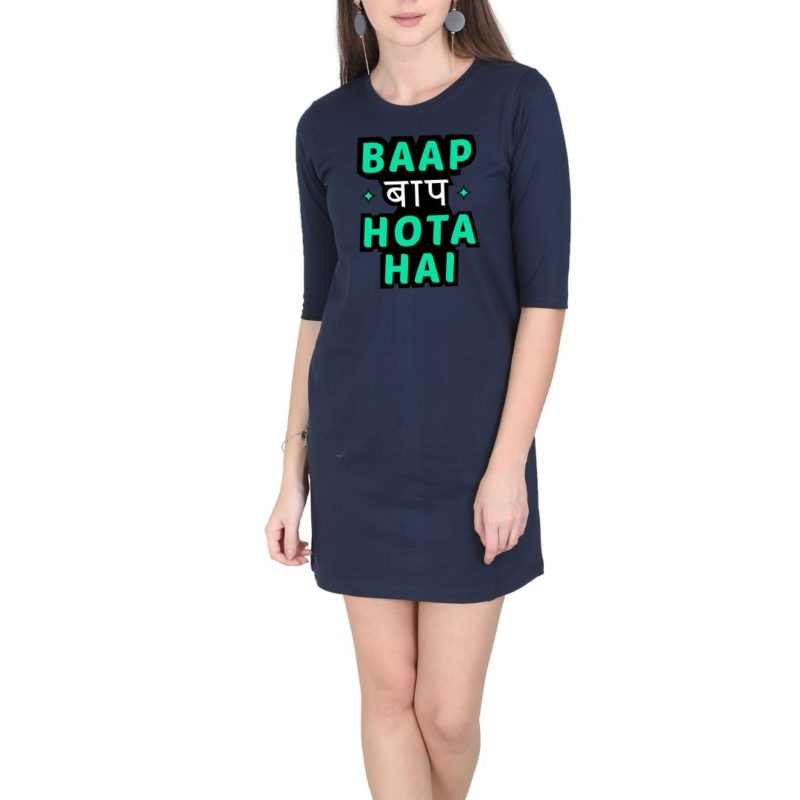 68b314b0 baap baap hota hai fathers day gift hindi women t shirt dress navy front