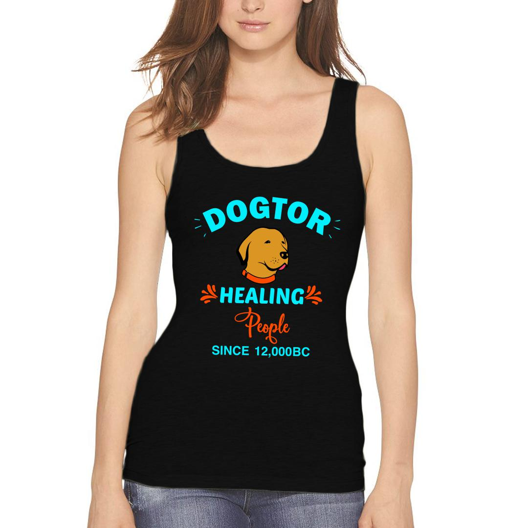 9843fc7d Dogtor Healing People Since 12000 Bc Women Tank Top Black Front