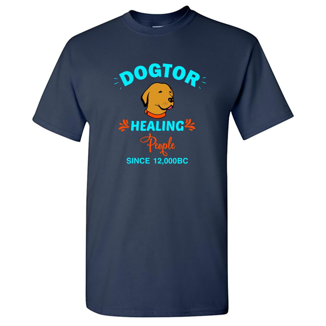 B29544e6 Dogtor Healing People Since 12000 Bc Round Neck T Shirt Navy Front