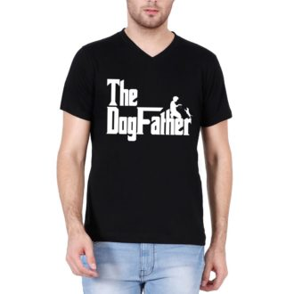 b640e14e the dogfather classic movie pet owner dog lover gift men v neck t shirt black front