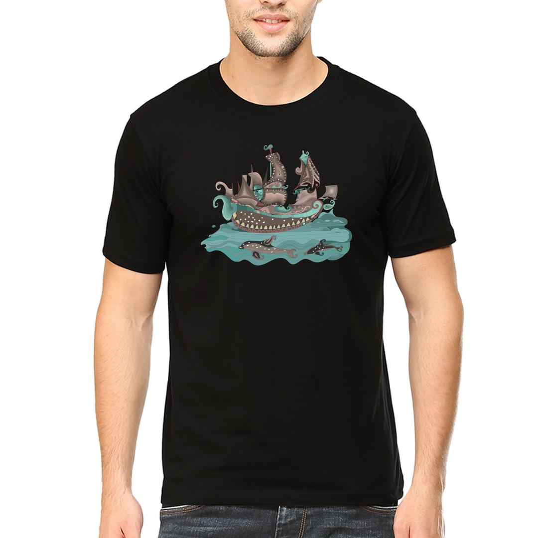 02098c00 Traditional Decorative Paisley Sailing Ship And Fishmen Round Neck T Shirt Black Front