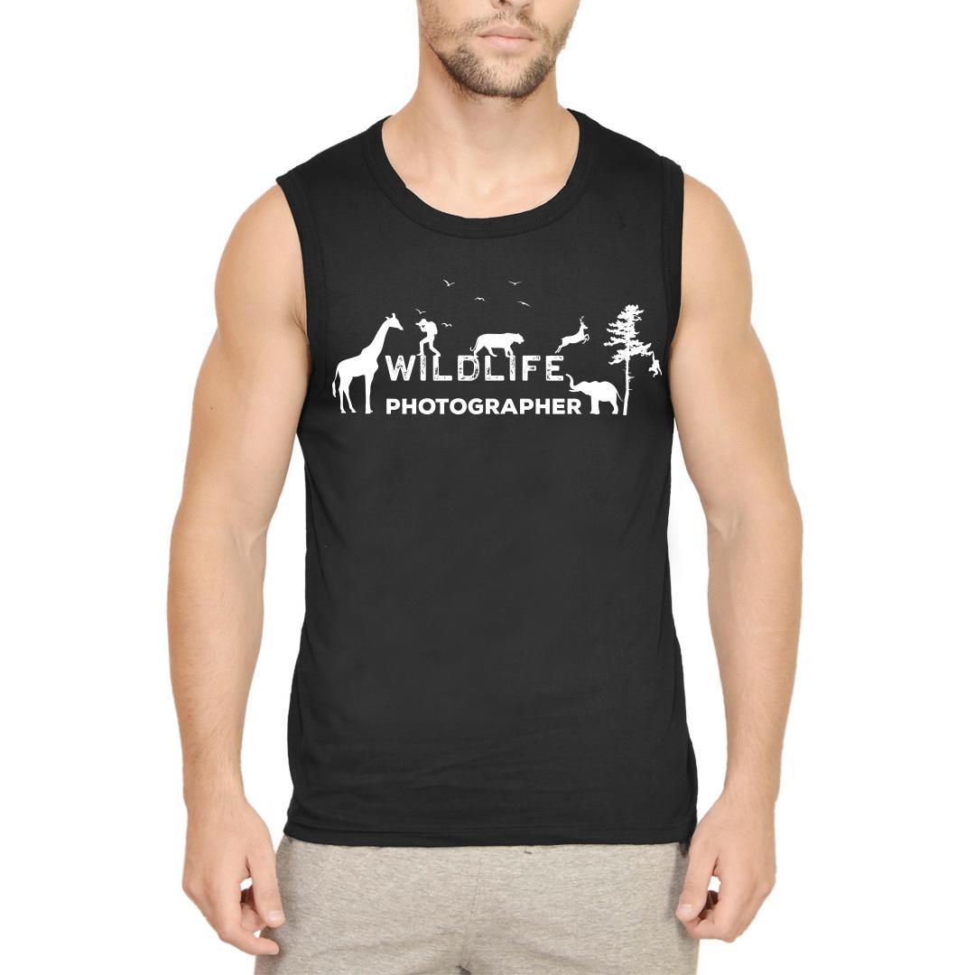 022f31b3 Wildlife Photographer Shutterbug Nature Lover Camera Men Sleeveless T Shirt Black Front