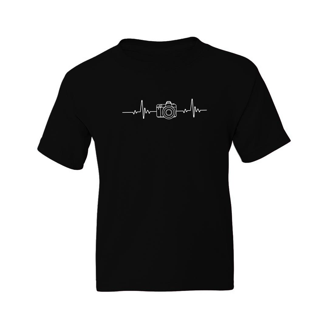 033d3afe Photography Its In My Heartbeat Camera Enthusiasts Kids T Shirt Black Front