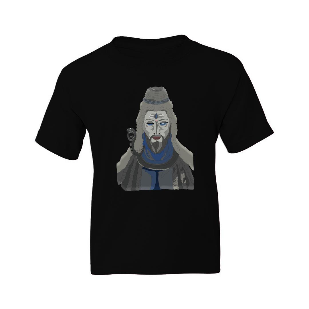 06232706 Adhiyogi The Meditating Shiva Kids T Shirt Black Front