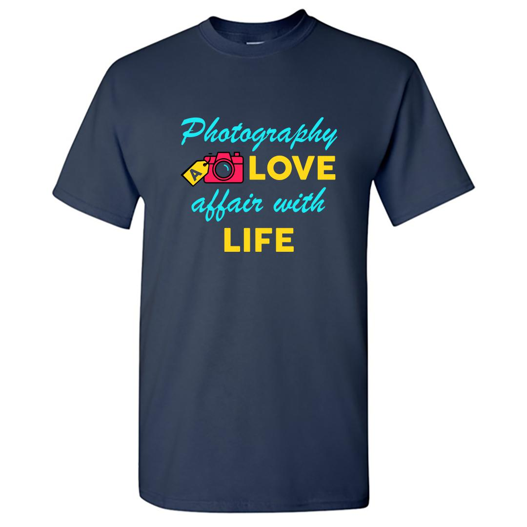 0caff96a Photography A Love Affair With Life Colourful Camera Round Neck T Shirt Navy Front