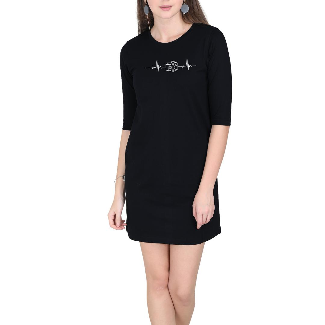 0e2f3b36 Photography Its In My Heartbeat Camera Enthusiasts Women T Shirt Dress Black Front