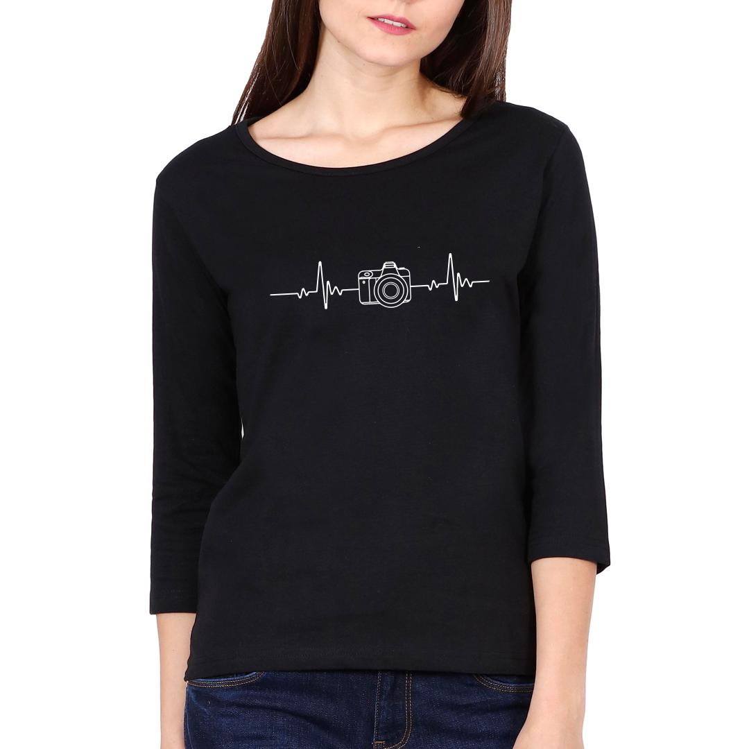 10729ae0 Photography Its In My Heartbeat Camera Enthusiasts Women Full Sleeve T Shirt Black Front