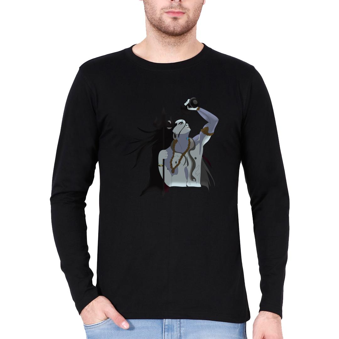 14a1113e Cosmic Shiva Spiritual Men Full Sleeve T Shirt Black Front