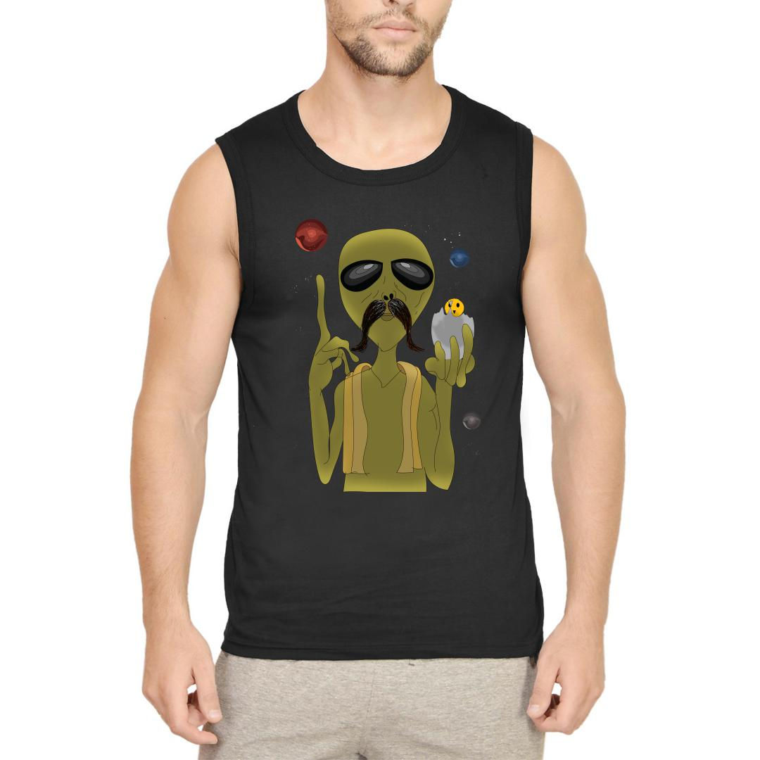 17e134bd Alien And The Classic Question Of Chicken Or Egg Men Sleeveless T Shirt Black Front
