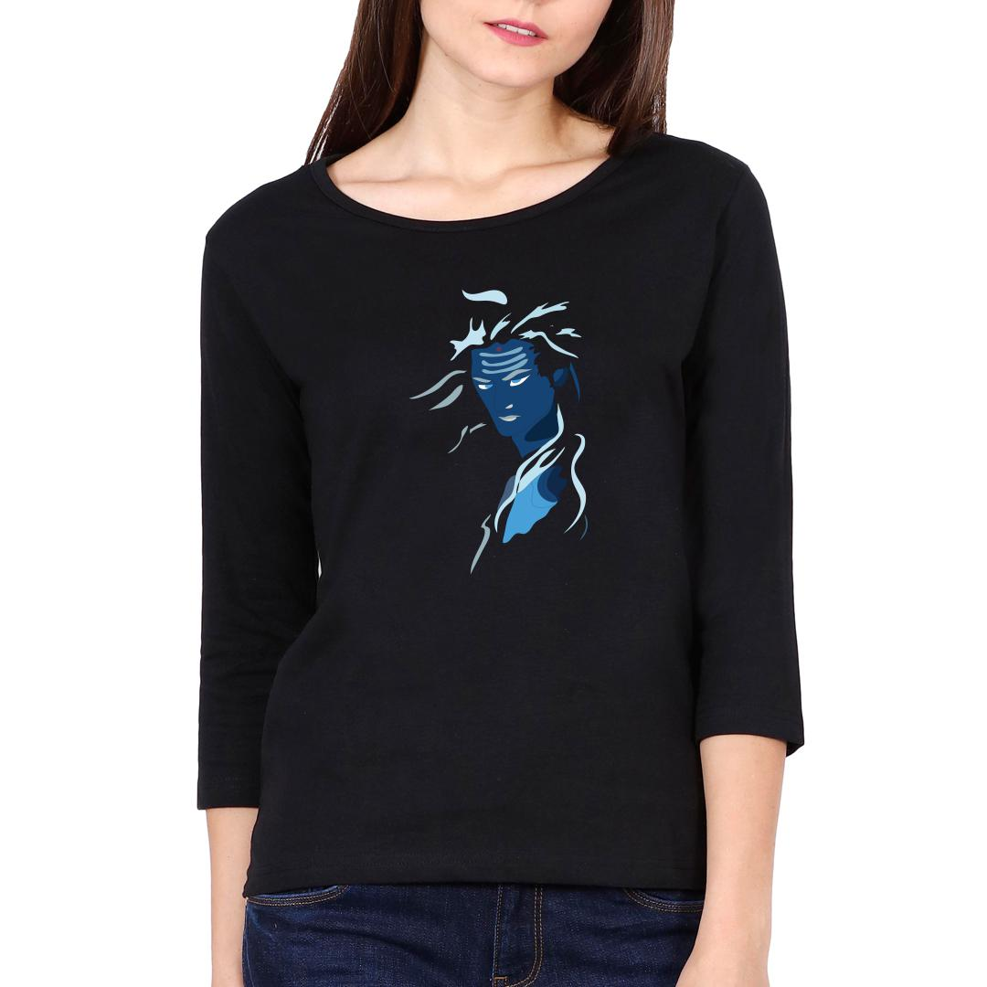 1ce2ef8c Angry Lord Shiva Women Full Sleeve T Shirt Black Front