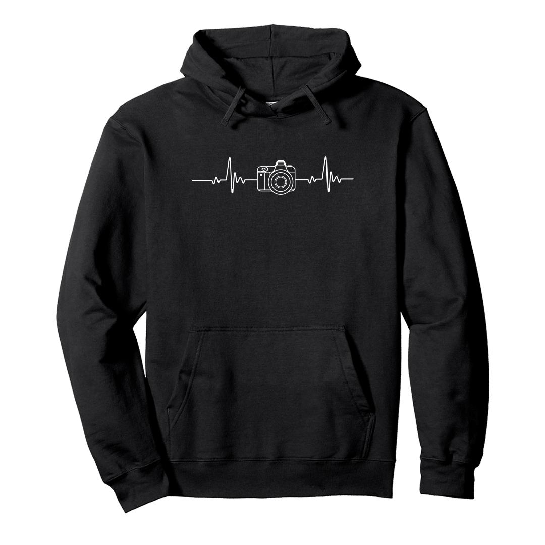 1f7053d8 Photography Its In My Heartbeat Camera Enthusiasts Unisex Hoodie Black Front