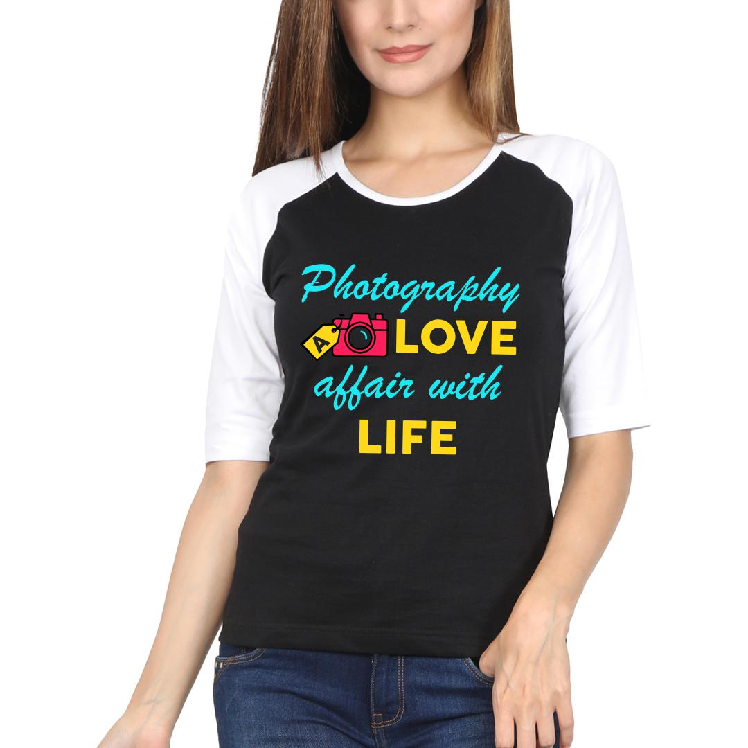 245e2afc Photography A Love Affair With Life Colourful Camera Women Raglan T Shirt White Black Front