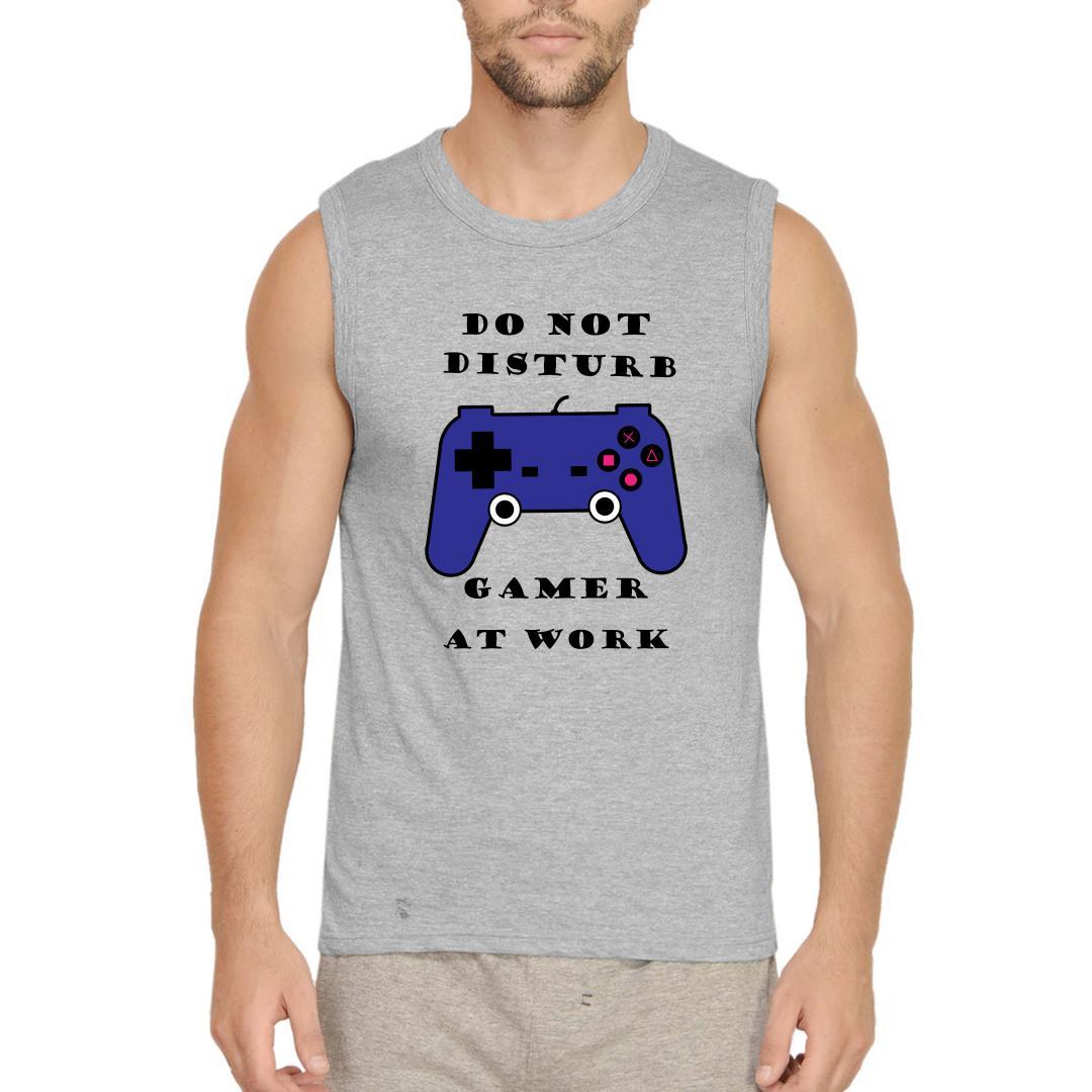 2b8a24f6 Do Not Disturb Gamer At Work Men Sleeveless T Shirt Grey Front