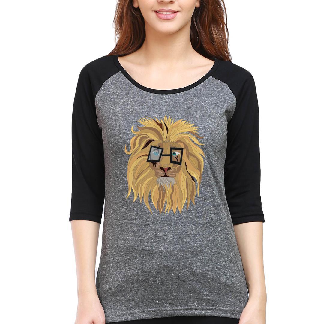 2c82fad4 Cute Lion In Glasses Women Raglan T Shirt Black Charcoal Front