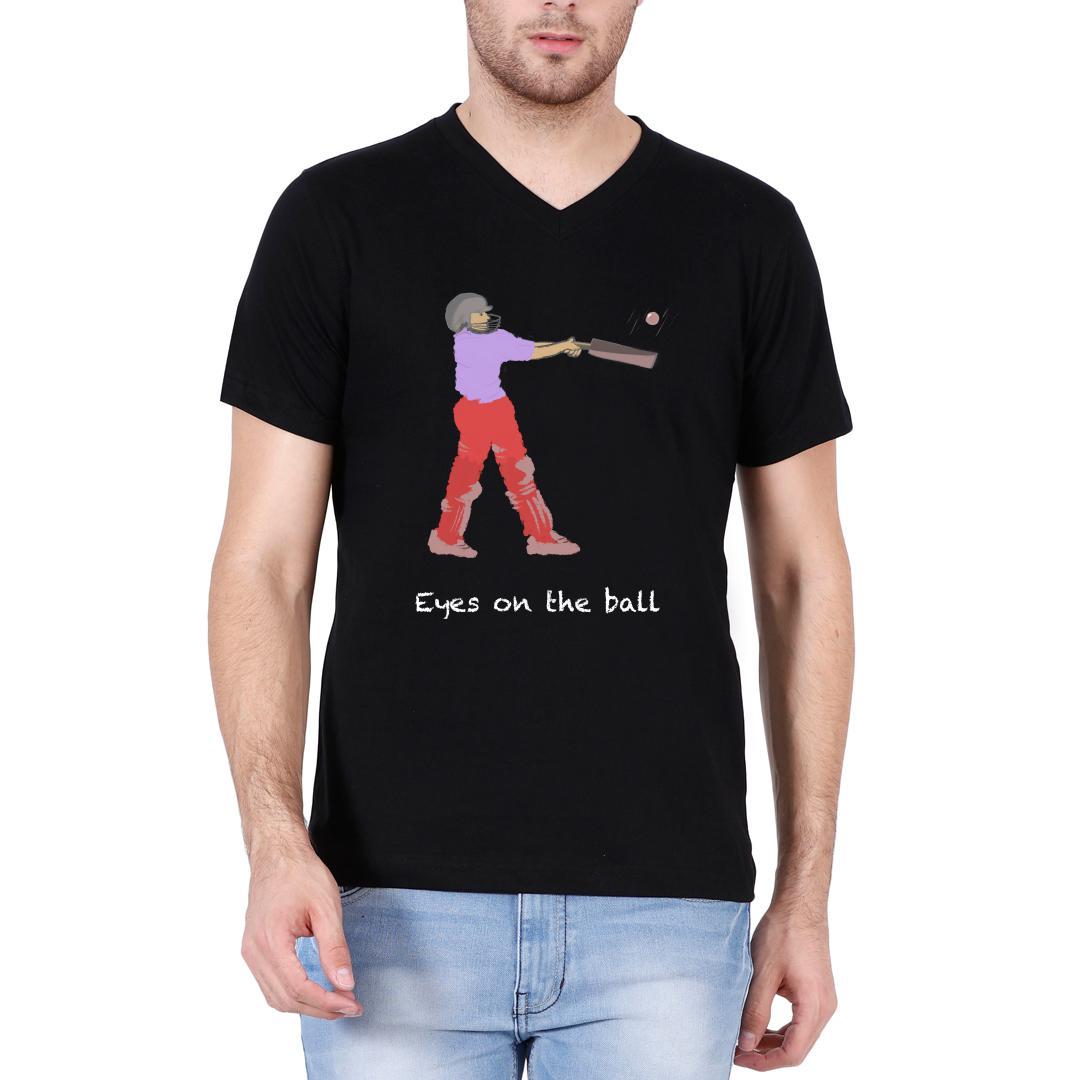 2ec98c35 Eyes On The Ball For Cricket Lover Men V Neck T Shirt Black Front