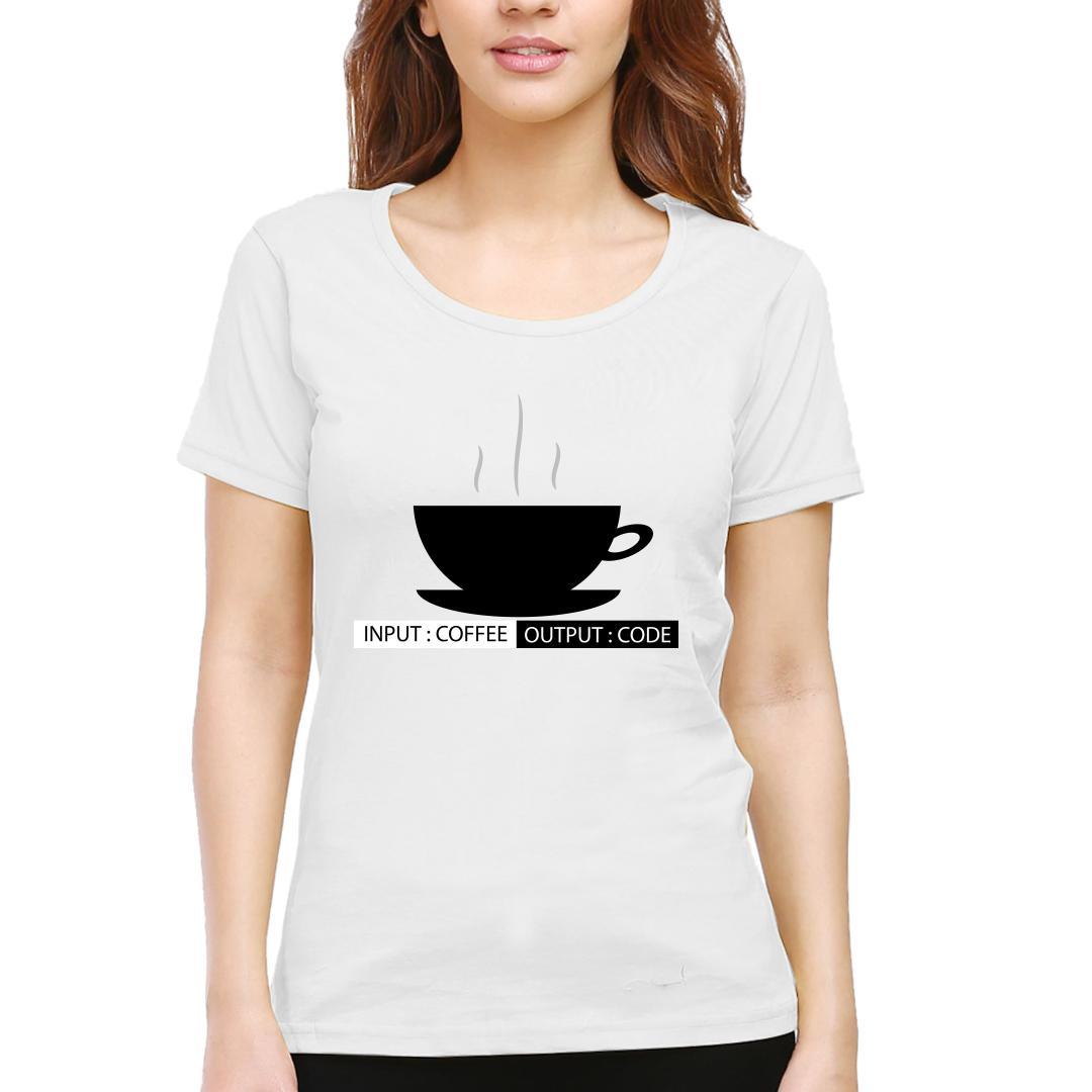 30e496ac Input Coffee Output Code Women Round Neck T Shirt White Front