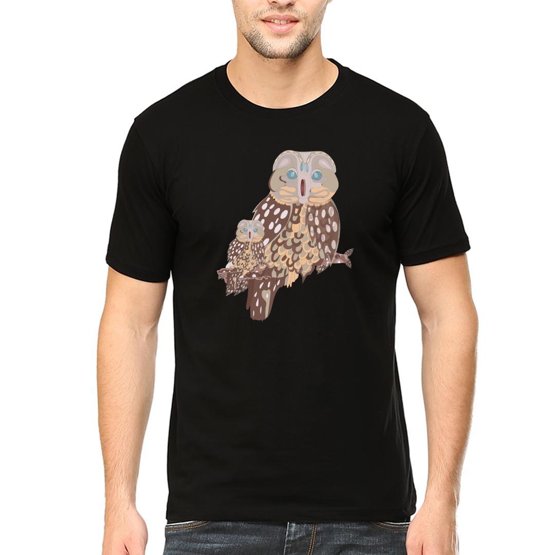 34c100fc Classic Ornamental Ethnic Owlmen Round Neck T Shirt Black Front