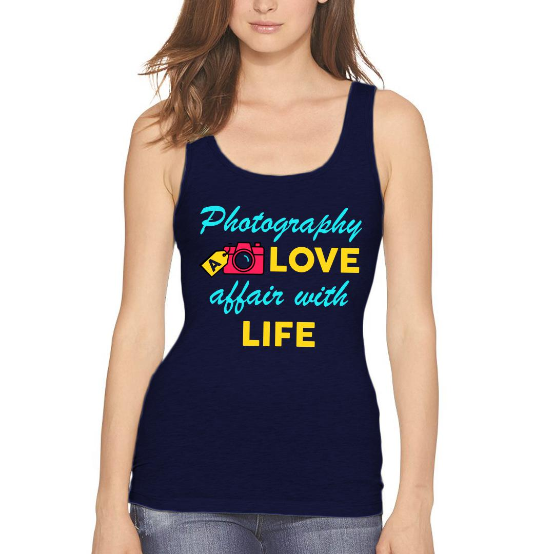 34ffbe5a Photography A Love Affair With Life Colourful Camera Women Tank Top Navy Front